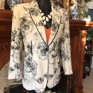 Rose Floral Sketches Blazer Jacket